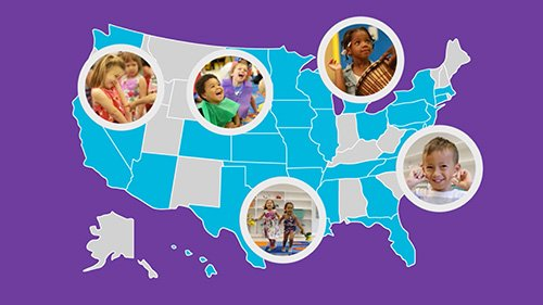 Map of the United States overlapped with images of young children experiencing arts in education.