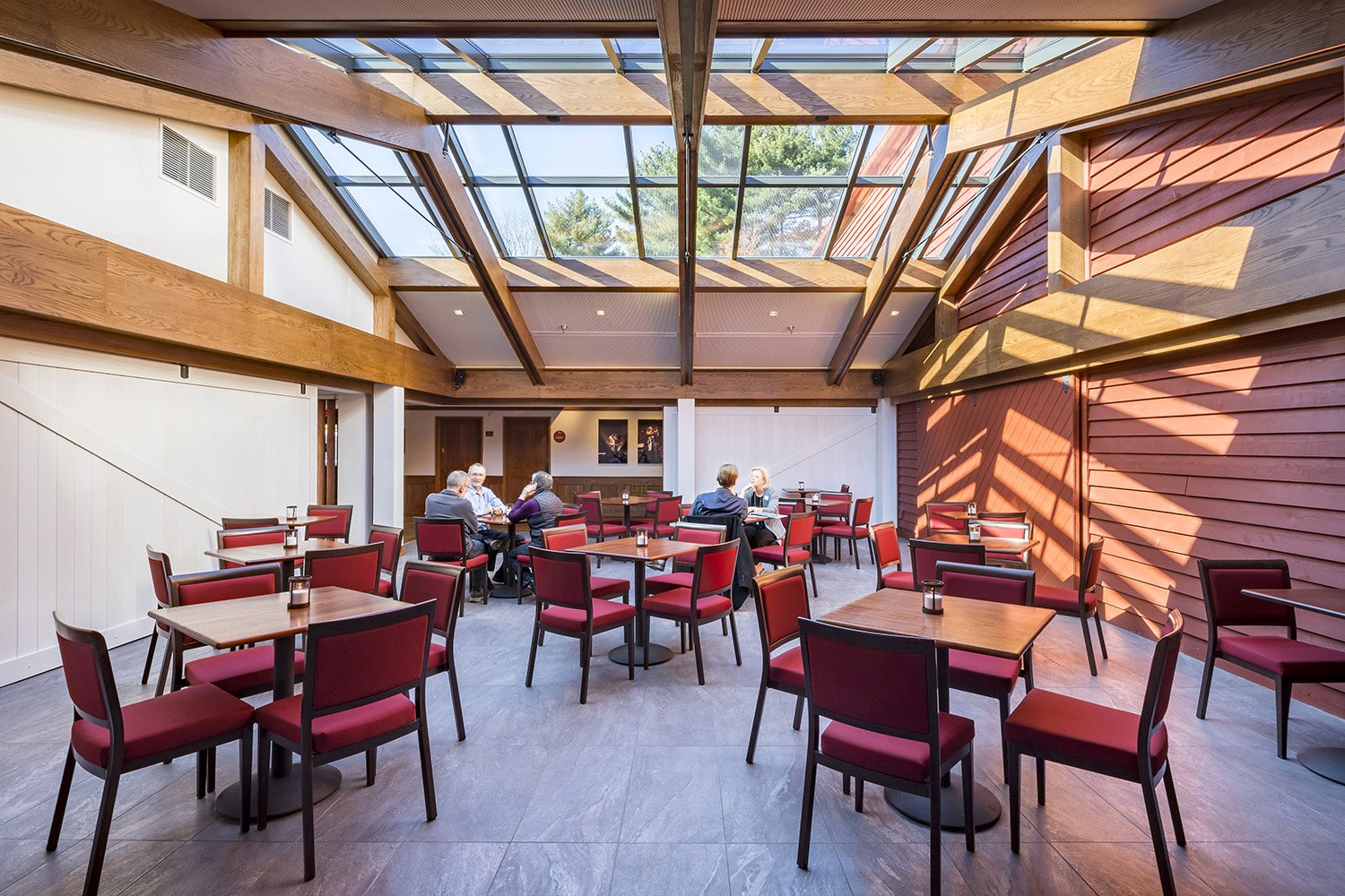 Newly enclosed central courtyard dramatically welcomes patrons to