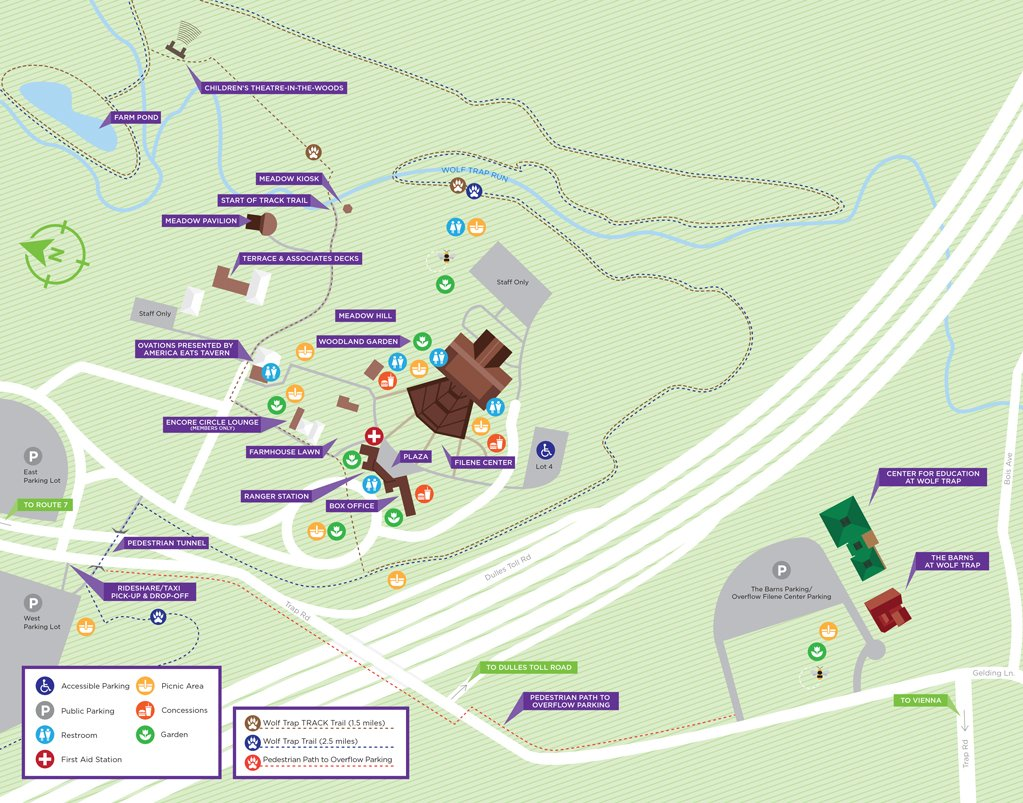Map of Wolf Trap Filene Center and The Barns