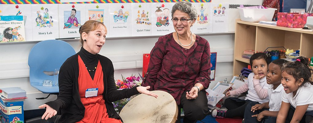 Photo depicting learning through the arts as teachers and children play a drum during a lesson