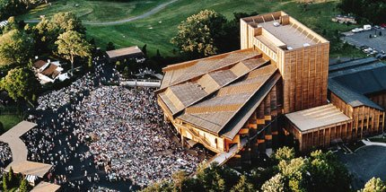 Aerial View of the Filene Center during a Performance